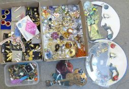 A collection of brooches and clip-on and pierced earrings, some vintage