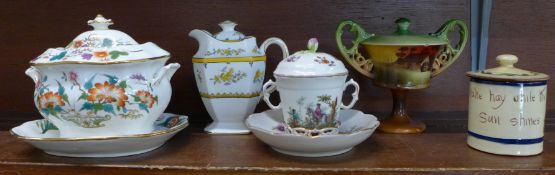 A George Jones lidded jug, lid cracked, a Shelley Surrey Scenery lidded pot on pedestal, one small
