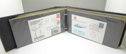 Stamps; an album of shipping related covers, paquebot/mailboat, maiden voyages, etc., (56 covers)