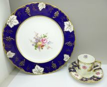 A Royal Crown Derby cabinet plate and a coffee cup and saucer