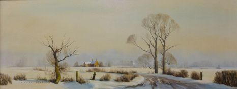 Michael Morris (b. 1938), rural snowy winter landscape, oil on canvas, 34 x 90cms, framed