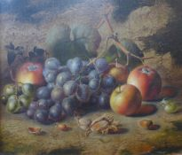 Charles Archer (1855-1931), still life of fruit, oil on canvas, 30 x 35cms, framed