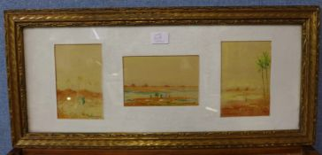 R. Macauley, two sets of three landscapes, Middle Eastern scenes and English rural scenes,