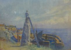 Frederick George Cotman (1850-1920), coastal landscape, watercolour, 27 x 38cms, framed