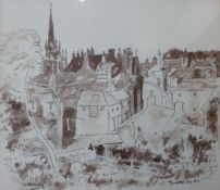 George Cox, Tetbury, pen, ink & wash, dated '83, 25 x 29cms, framed