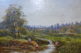 English School, landscape with peasant figures by a river, oil on canvas, indistinctly signed, dated