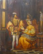 An early 19th Century interior scene with Royal Tudor figures, oil on board, 40 x 33cms, unframed