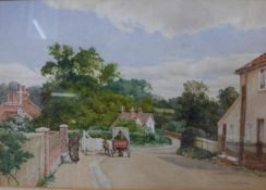 Edwin Thomas Johns, rural village landscape, watercolour, framed