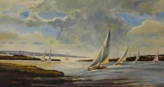Charles J. Simkins, landscape with sailing boats in a harbour, oil on board, 40 x 76cms, unframed