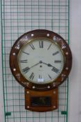A Victorian Welsh rosewood and mother of pearl inlaid fusee wall clock, the dial signed D.