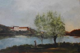 French School, river landscape, after Corot, oil on board, indistinctly signed, 40 x 60cms, unframed