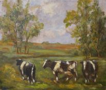 English School (early/mid 20th Century), landscape with cows grazing in a field, oil on canvas, 51 x