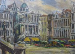 Donald Gray Midgley (1918-1995), Grand Place, Brussels, oil on board, 32 x 45cms, framed
