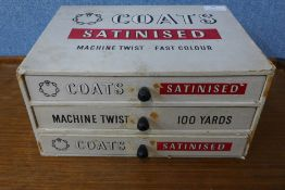 A Coats Satinised haberdashery shop chest, 15cms h x 31cms w