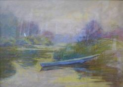French Impressionist School, river landscape, pastel, indistictly signed, 31 x 45cms, framed