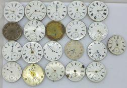 Twenty-one pocket watch movements, Waltham, Thomas Russell, Swiss lever, fusee, etc., a/f