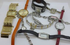 Ten lady's designer wristwatches including DKNY, Pia, Gossip, Kenneth Cole, etc.