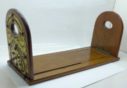 A Victorian bookslide with brass and bone applied decoration