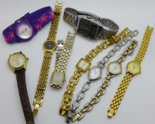 Nine lady's wristwatches including Seiko, Accurist, etc.