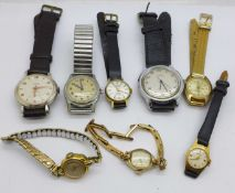 Eight lady's and gentleman's manual wind wristwatches including Junghans, Helvetia and Montine, etc.