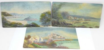 Three rectangular oils on board, each with a coastal view, unsigned, 20cm x 10.5cm