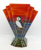 An Anita Harris Art Deco fan shape vase, Puffin design, 22cm, signed in gold on the base