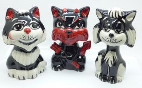 Three Lorna Bailey cat figures, Tex the Cat, 12.5cm, Doza the Cat, 13.5cm and Mephisto Devil Cat,