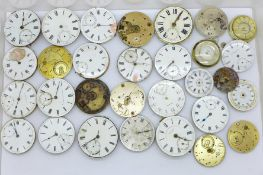 Twenty-six pocket watch movements, Waltham, fusee, fob watch movements and two pendant watches
