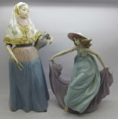 Two Lladro figurines, Lady from Majorca, model no. 5240, designed by Vicente Martinez, 28.5cm and