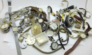 Manual wind wristwatches, parts and straps, a/f