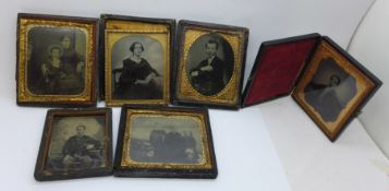 Six 19th Century photographs; daguerreotypes and ambrotypes