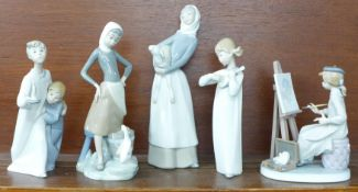 Five Lladro figures, Girl with Milk Pail, model no. 4682 by Vicente Martinez, 23.5cm, Girl with