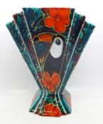 An Anita Harris Art Deco fan shaped vase, Toucan design, 20cm, signed in gold on the base