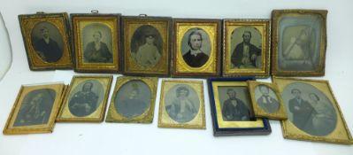 Thirteen 19th Century photographs; daguerreotypes and ambrotypes