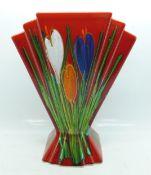 An Anita Harris Art Deco fan shape vase, Crocus design, 23cm, signed in gold on the base