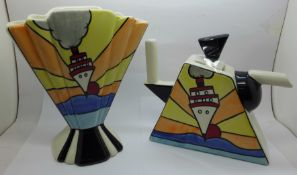 Lorna Bailey, an Art Deco fan shape vase in the Cruise design, 21cm and a wedge shaped teapot,