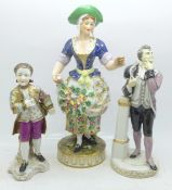 Three figures; Crown Derby figure of a lady, restoration on the left hand and skirt, a Bing &