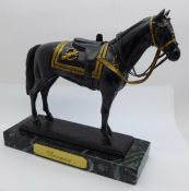 A bronze figure of the Queen's horse Burmese, limited edition, 70 of 5000, 18cm; (This horse carried