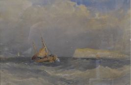 Edward Tucker (1825-1909), Off Hastings, watercolour, 26 x 39cms, framed