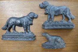 Three Victorian cast iron figures of dogs