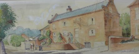 Gordon Willbond, White Lion Inn, Bramcote, watercolour, 24 x 59cms, framed