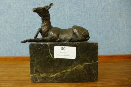 A French style bronze figure of deer, on marble socle, 15cms h