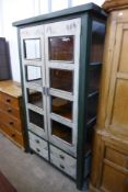 A French style painted two door bookcase