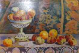 French Impressionist School, still life, oil on board, signed verso Jean Labet, 37 x 55cms, unframed
