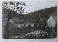 A signed Chris Reid (Irish) limited edition etching, Country Village, no. 26/28, 16 x 22cms, framed