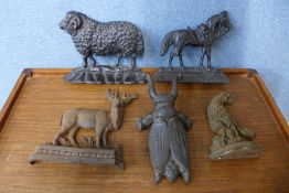 Five Victorian cast iron animal figures, including horse, ram and beetle