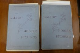 The Gallery of Modern Etchings, two volumes, section 1 and section 5, incomplete, approx. 26 in