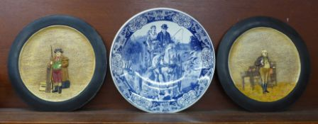 A Delft charger, 39.5cm and two Bretby chargers