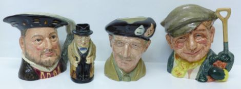 Three large Royal Doulton character mugs; The Gardener, Henry VIII and Monty, and a character jug,