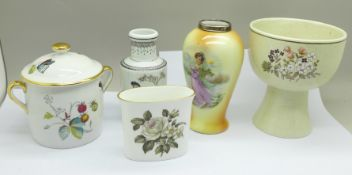 A silver mounted vase, a Chinese vase, a Royal Worcester lidded pot and posy vase and a Royal
